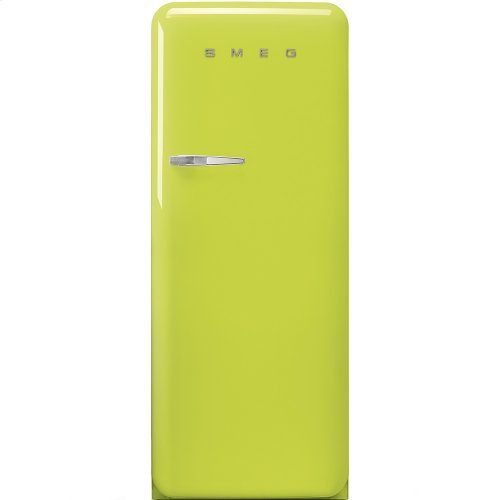 """Approx 24"""" 50'S Style Refrigerator with ice compartment, Lime green, Right hand hinge"""