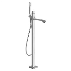 "TRIM PARTS ONLY Floor-mounted tub filler Handshower 59"" flex hose Diverter Spout projection 9-3/4"" Requires in-floor rough valve 48189 Handshower max flow rate 2.0 GPM Spout max flow rate 6.3 GPM Product Image"