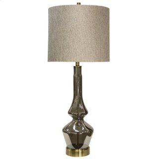 Burgetts Plated Smoke Glass Table Lamp with Brass Metal Accents & Designer Fabric Hardback Shade