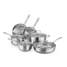 KitchenAid Gourmet Series Tri-Ply Stainless Steel 10-Piece Set - Brushed Stainless Steel