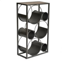 New Bern Round Metal and Wood Wine Storage