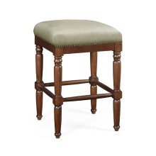 Square Walnut Bar Stool, Upholstered in MAZO