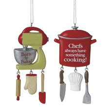 Chef's Pot and Baker's Mixer with Text Ornament (2 asstd).