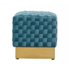 Divani Casa Atwood Modern Blue Velvet Ottoman