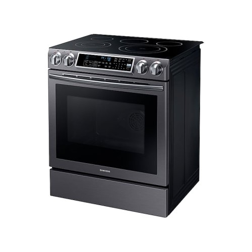 5.8 cu. ft. Slide-in Electric Range with Dual Convection in Black Stainless Steel