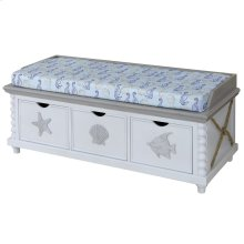 Montauk  46in X 19in X 19in  3 Drawer Storage Bench with Seahorse & Scallop Printed Cushion Top. M