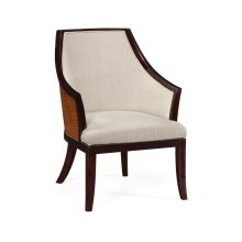Rounded back armchair, upholstered in MAZO