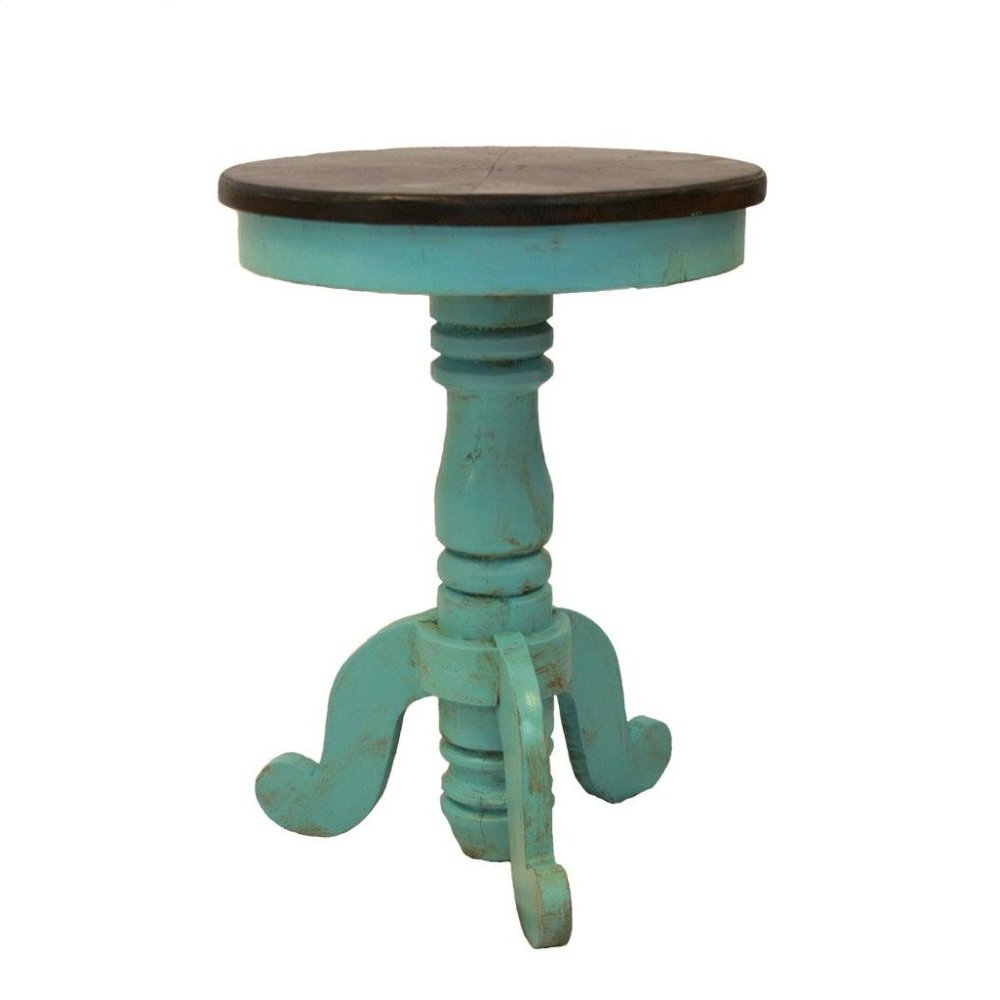 Turquoise/Walnut Recepcion End Table