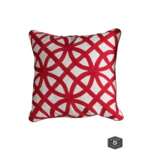 BEDFORD PILLOW- RED  Hand Embroidered Wool on Cotton  Down Feather Insert