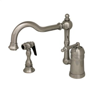 Legacyhaus single-lever handle faucet with a traditional swivel spout and a solid brass side spray. Product Image