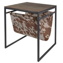 Transitional Metal Magazine Sling Rack with Wooden Top