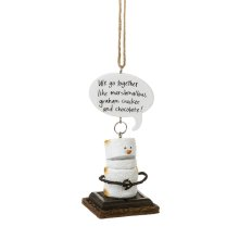 """Toasted S'mores """"We go Together Like Marshmallow, Graham Cracker and Chocolate!"""" Ornament."""
