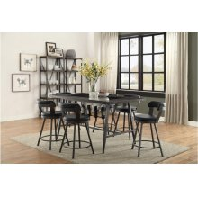 5pc - Dining Set (Includes: Counter Height Table w/ Glass Insert & 4 Swivel Counter Height Black Chairs)