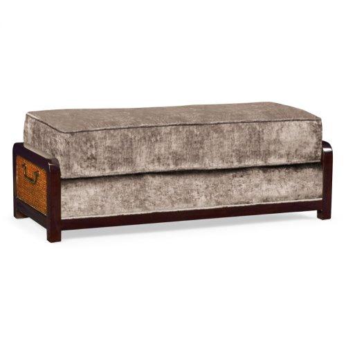 Sonokelling & Brown Rattan Ottoman, Upholstered in Truffle Velvet; Pairs with 500078-44L-SKL-F002