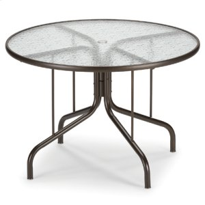"42"" Round Glass Table with 4 Gardenella Stacking Cafe Chairs-Floor Sample"