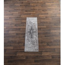 Tan & Grey Antique Wash Medallion 2' x 6' Jacquard Rug