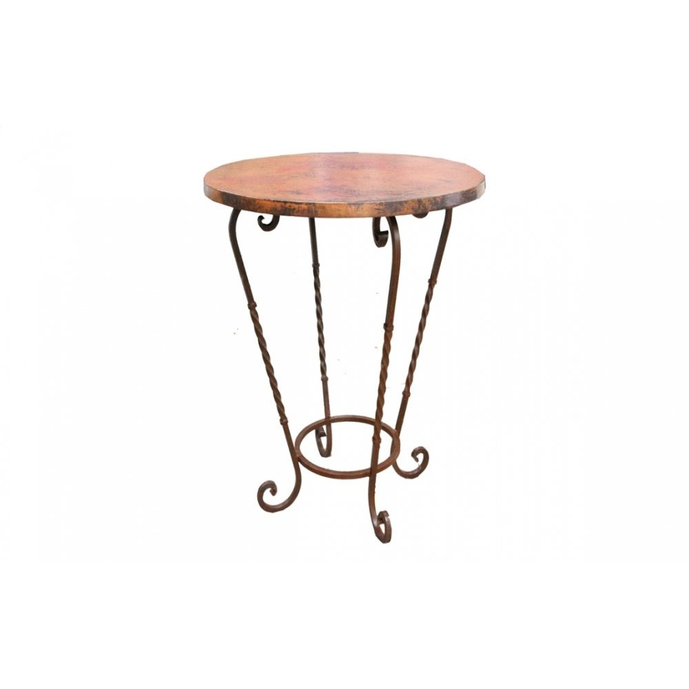 "Factory 4 36"" Natural Copper Bistro Top & Wrought Iron Base"