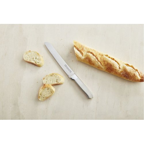 Classic Forged 8-Inch Brushed Stainless Scalloped Bread Knife - Stainless Steel