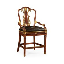 Neo-Classical Gilded Lyre Back Bar Stool Armchair, Upholstered in Black Leather