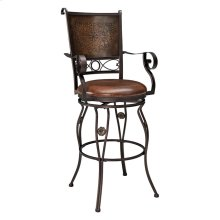 Big & Tall Copper Stamped Back Barstool with Arms