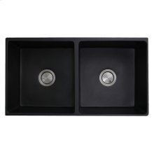 Double Bowl Farmhouse Fireclay Sink with Matte Black Finish