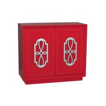 Red Door Chest with Silver Fretwork Hardware