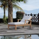 Marina Outdoor Patio Teak Single Chaise in Natural Gray Product Image