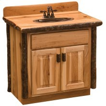 Vanity with Top - 36-inch - Natural Hickory - Sink Left - Liquid Glass