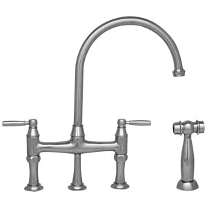 Queenhaus bridge faucet with a long goose neck swivel spout, solid lever handles, and a solid side spray. Product Image