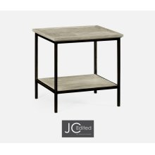 Rustic Grey Square End Table with Iron Base