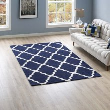 Marja Moroccan Trellis 5x8 Area Rug in Navy and Ivory