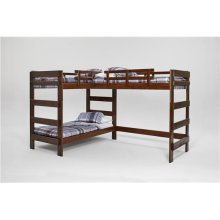 Heartland L-Shaped Triple Bunk Bed with options: Chocolate, 2 Twins Over Twin