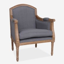 Agatha Cabriolet Upholstered chair. Grey linen fabric