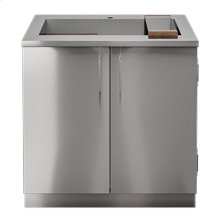 "OUTDOOR KITCHEN CABINETS IN STAINLESS STEEL  PURE 36"" Sink Cabinet SmartStation Walnut 2 doors"