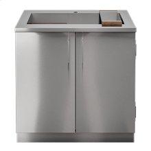 "OUTDOOR KITCHEN CABINETS IN STAINLESS STEEL  PURE 36"" Sink Cabinet SmartStation Walnut 2 doors"