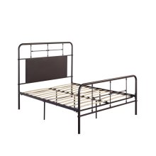 3/3 Twin Iron Headboard-footboard-rails-dark Brown Finish