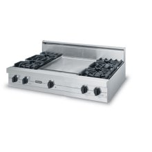 """42"""" Open Burner Rangetop - VGRT (42"""" wide rangetop with four burners, 18"""" wide griddle/simmer plate)"""