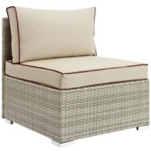 Repose Outdoor Patio Armless Chair in Light Gray Beige