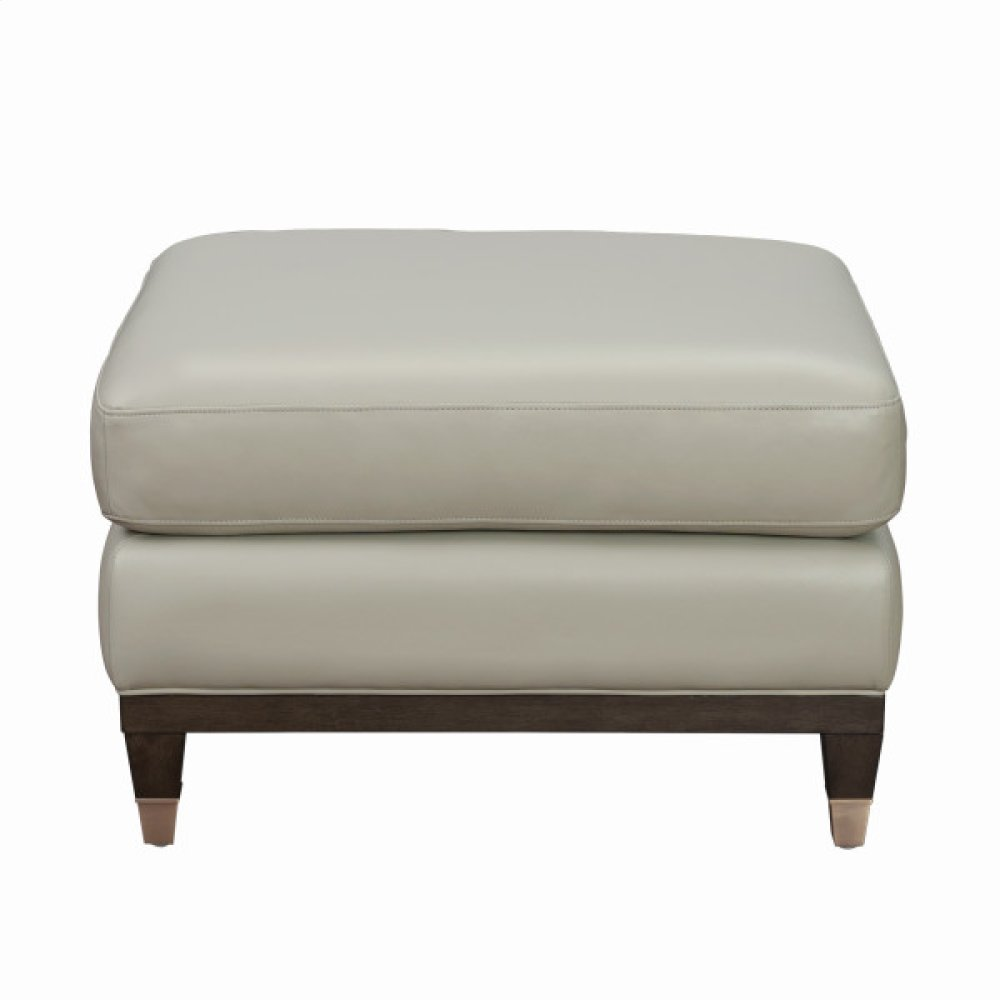 Addison Leather Accent Ottoman in Frost Grey