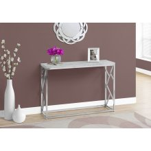"ACCENT TABLE - 44""L / GREY CEMENT / CHROME METAL"