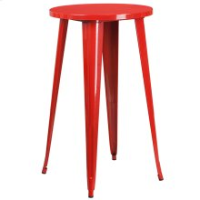 """Commercial Grade 24"""" Round Red Metal Indoor-Outdoor Bar Height Table"""
