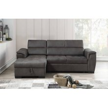 8009 Air Leather Pull Out Sectional Sofa - Left