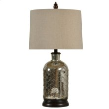Netted Antique Silver Plated Table Lamp with Handback Drum Shade
