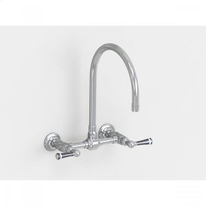 """Brushed Stainless - Wall Mount 10"""" Swivel Spout with Black Ceramic Lever Product Image"""