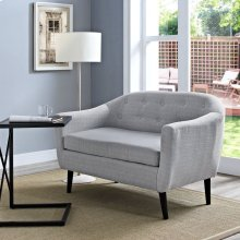 Wit Upholstered Fabric Loveseat in Light Gray