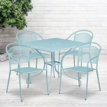 """Commercial Grade 35.5"""" Square Sky Blue Indoor-Outdoor Steel Patio Table Set with 4 Round Back Chairs"""