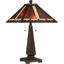 Table Lamp - Dark Bronze/mica Tiffany Shade, E27 Cfl 13wx2