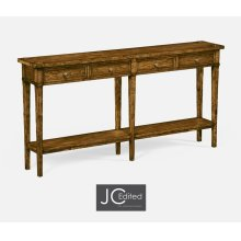Country Walnut Four Drawer Console
