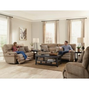 Power Headrest w/Lumbar Lay Flat Recliner w/Ext Ottoman