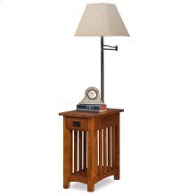 Mission Chairside Swing Arm Lamp Table with Burlap Shade #10028